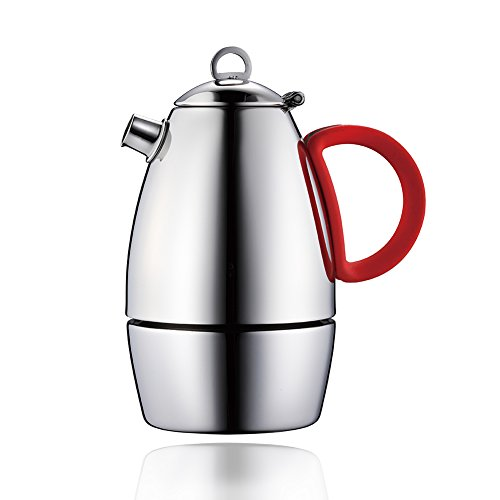 Minos Moka Pot Espresso Maker  – 6 cup – 10 fl oz – Stainless Steel and Silicon Handle – Suitable for Gas, Electric And Ceramic Stovetops