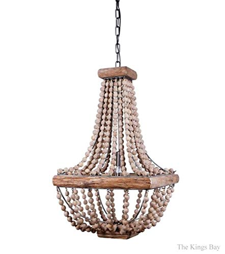 The Kings Bay Iron Frame & Wood Wooden Beads Square Chandelier Light Fixture Vintage Style