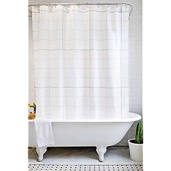 Bathage Modern Grid Pattern Fabric Shower Curtain