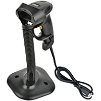 USB Barcode Scanner, ieGeek Wired Handheld Automatic Sensing Laser Bar Code Scanner Reader Scanning Barcode Hand Scanner with USB Cable / Hands Free Adjustable Stand, Auto / Manual Scan