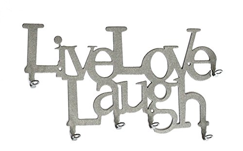 Live Love Laugh - Key Holder - Key Hook - Steel - Silver - 6 Hooks by steelprint.de