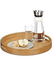 Relaxdays Serveerdienblad bamboe rond, verhoogde rand, gastronomische tablet, grijpgaten, H x B x D: 5 x 38,5 x 38,5 cm, hout, naturel