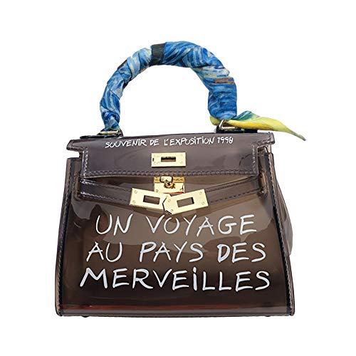 JIESMART Clear Crossbody Handbags, Fashion Women's Waterproof Clear Handbag Top Handle Shoulder Bag Transparent Purse (Small, Black)