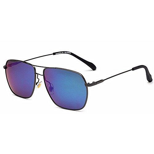 del metal gafas sol UV vendimia Color de de los tonos Novedad diseñador Marco gafas conducción la padre regalo de de de forma cuadrada del día hombres de de sol Protección Azul Brillantes Negro IIUP4wqO