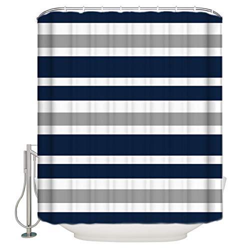 Vandarllin?TM Designs Navy Blue, Gray and White Kids Bathroom Fabric Bath Teen Stripe Shower Curtain-Standard Sizes 72X72 Inch (Navy Curtains Striped Blue White)