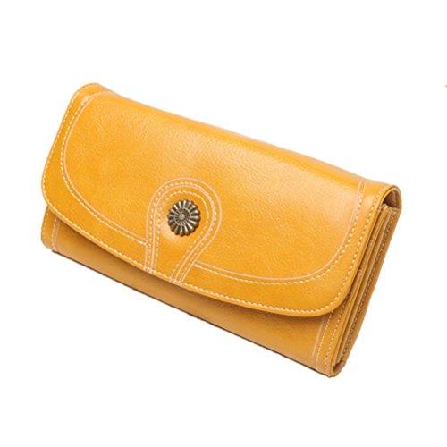 Damen Vintage Lang Geldbörsen Leder Große Luxus Wachs Glatte Oberfläche Große Kapazität Reißverschluss Reise Geldbeutel Portemonnaie Kartenhalter Brieftasche gelb