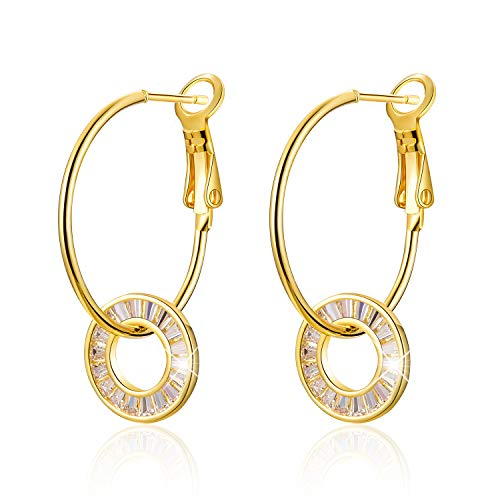 MadeOne ✦18K white gold plating Interlocking Circles cubic zirconia Round Hoop dangle drop earrings for women with box packing ()