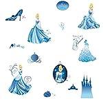 Cenerentola - Adesivi da Parete con Glitter per Cameretta di Cenerentola