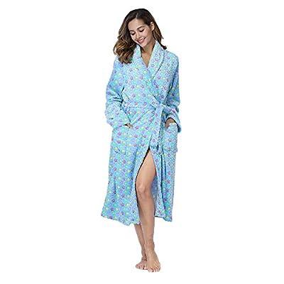 RONGTAI Women's Plush Robe,Fleece Soft Shawl Collar Long Bathrobe at Women's Clothing store