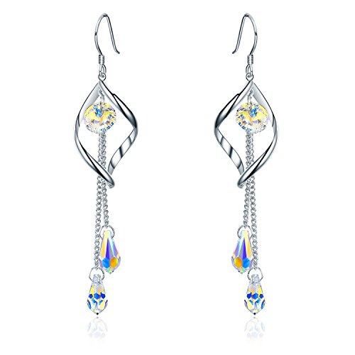 SBLING Platinum-Plated Color Change Multi-Teardrop Earrings Made with Aurora Borealis Swarovski Crystals (5.0 cttw)