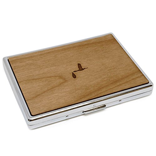 WOODEN ACCESSORIES COMPANY Wooden Cigarette Cases with Laser Engraved Stork Design - Stainless Steel Cigarette Case with Wooden Panel - Perfect Fit for Regular and King Size Cigarettes ()