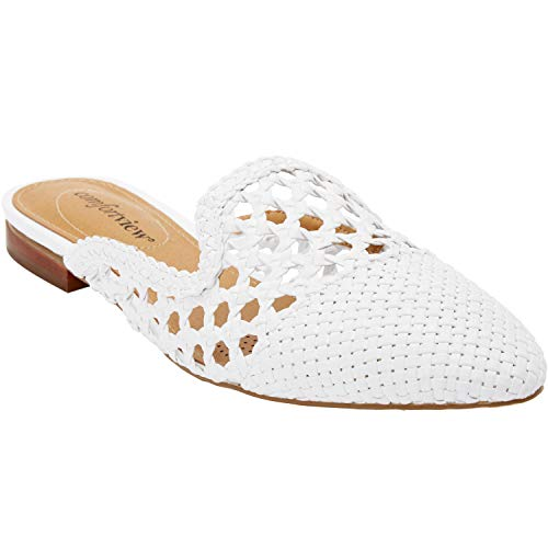 Comfortview Women's Plus Size The Leah Mule - White, 9 -