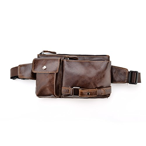 J.Market Genuine Leather Waist Pack Fanny Bag Cross Body Bag for Sport Hiking Travel Climbing (brown, free size)