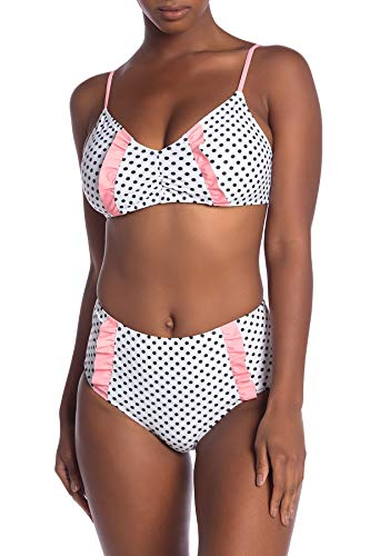 Juicy Couture Two Piece Swimsuit Bikini Set Adjustable Top and High Waisted Bottom with Ruffle Detail (Polka Dot, Small)