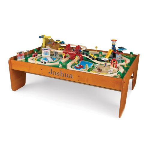 KidKraft Personalized Ride Around Train Table and Set with Blue Library - Joshua -