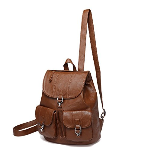 Leather Drawstring Purse - Mini Backpack Purse for Women,VASCHY Fashion Faux Leather Buckle Flap Drawstring Backpack for College with Two Front Pockets Brown