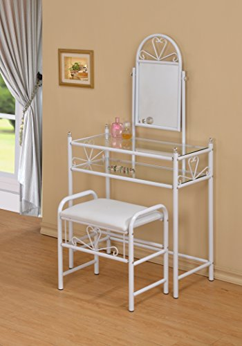3-Piece Metal Make-Up Heart Mirror Vanity Dresser Table and Stool Set, White