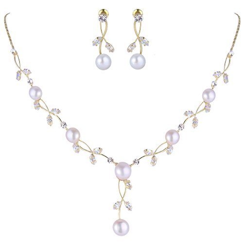 - EVER FAITH CZ Crystal Cream Simulated Pearl Floral Vine Filigree Necklace Earrings Set Clear Gold-Tone