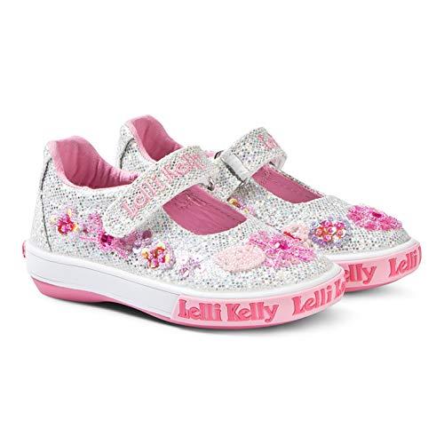 (Lelli Kelly (LK 9404 White Glitter Daisy Velcro Strap Mary Jane, Size US 9 / EU 26 )