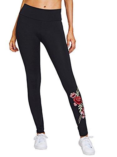 SweatyRocks Women's Embroidered Flower High Waist Skinny Ankle Leggings Pants Black M
