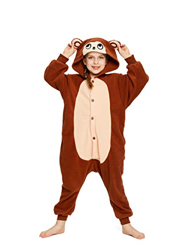 NEWCOSPLAY Unisex Children Animal Pajamas Halloween Costume (105#, Brown Monkey)