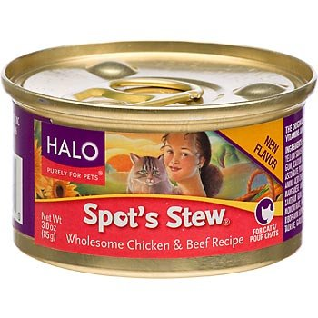 Halo Spot's Stew for Cat's Chicken and Beef Recipe, 3-Ounce (Pack of 12), My Pet Supplies
