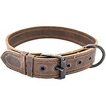 Rustic Leather Dog Collar For Medium Size Dog (10 to 19 Inches) Handmade by Hide & Drink :: Bourbon Brown