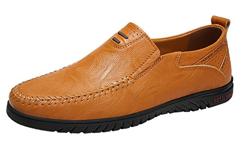Sanyge Men's Leather Shoes Slip on Casual Loafers Driving Moccasin Shoes(Sanyge1858Y.Brown41) (Shoes Driving Moccasin)
