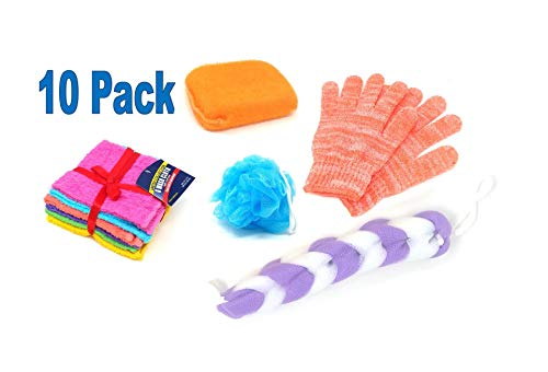 (Loofah Lord 10 Pack Loofah Spa Sampler Kit - Back Scratcher Loofah, Large Pouf, Thick Body Sponge, Exfoliating Gloves & Pack Of Colorful Wash Cloth Towels - Colors May Vary)