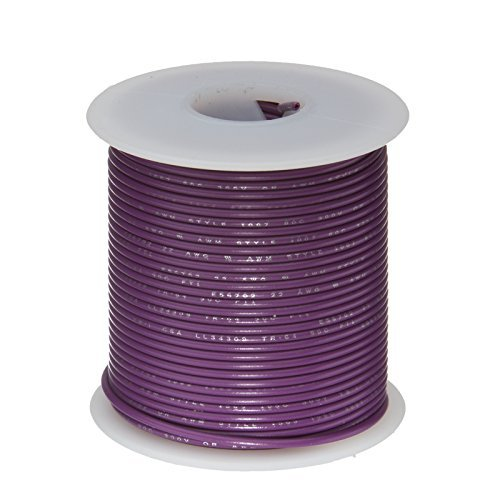 Remington Industries 22UL1007SLDVIO 22 AWG Gauge Solid Hook Up Wire, 100 feet Length, Violet, 0.0253'' Diameter, UL1007, 300 Volts by Remington Industries