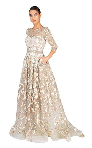 Terani Couture 1913M9408 Quarter Sleeve Embroidered Sheer Ballgown in Champagne