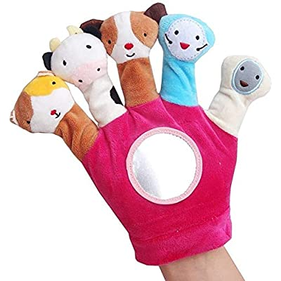 Cartoon Animal Finger Plush Toys On Fingers Biological Children Baby Doll Kids Educational Hand Puppets Toy (Color : Red, Size : Show: Home & Kitchen