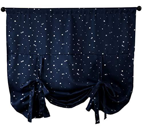 ZebraSmile Blackout Star Roman Curtain Tie Up Darkening Shades Black Out Balloon Panels for Kids Bedroom Darken Small Window Curtain Rod Pocket Navy 46X63In (Print Shades Roman)