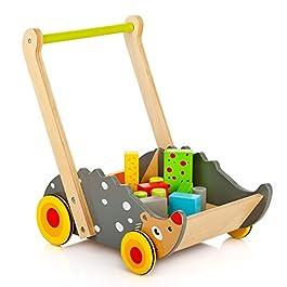 andador y juguetero para bebé de madera