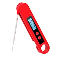 Instant Read Meat Thermometer Waterproof IP67 Ultra Fast Thermometer with Backlight LCD & Calibration. Digital Food Thermometer Probe for Kitchen Baking, Outdoor Cooking, BBQ and Grill