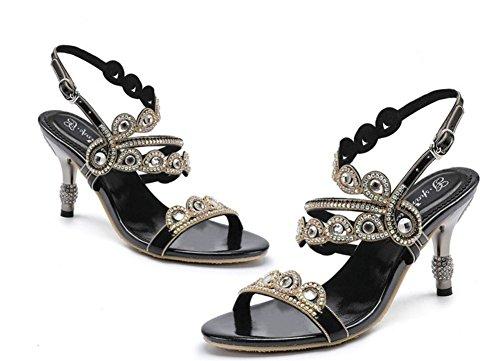 Zapatillas Nocturna Zapatos 35 Diamante imitación Vestir nocturno Sandalias talón Club NVXIE Tamaño Banquete de Diamante gatito 42 de Cristal Fiesta Negro Resplandecer Nupcial a mujer Boda 7BqBRYdw