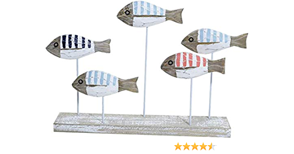 Amandaus 2pcs//Set Mediterranean Style Painted Couple Fish Wooden Crafts Wine Cabinet Home Decoration Ornament Creative Wedding Gift