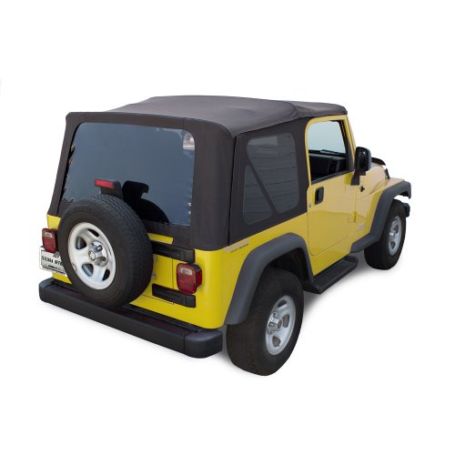 Sierra Offroad TJ 2003-06 Factory Style Soft Top with Tinted Windows in Black Diamond. (except Unlimited) (Jeep Wrangler Soft Top Rear Window Zipper)