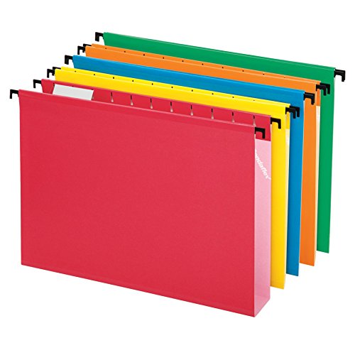Side Tab Lateral Files - Pendaflex SureHook Extra Capacity Reinforced Hanging Folders, Letter Size, Assorted Colors, Total of 20 Folders per Box (6152X2 ASST)