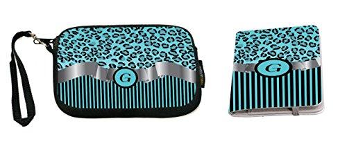 Rikki Knight Letter G Sky Blue Leopard Print Stripes Monogram Design Neoprene Clutch Wristlet with Matching Passport Holder