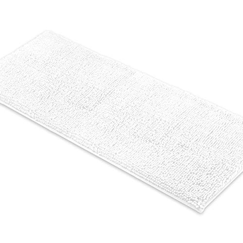 MAYSHINE Bath Mat Runners for Bathroom Rugs, Long Floor Mats, Extra Soft, Absorbent, Thickening Shaggy Microfiber, Machine-Washable, Perfect for Doormats,Tub, Shower (27.5X47 Inches White) (Runner Bathroom)