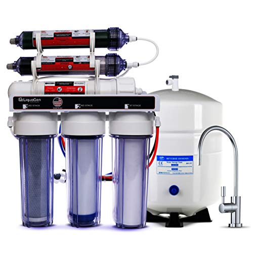 LiquaGen - Dual 6 Stage Under Sink Reverse Osmosis Drinking & Aquarium Deionization (RO/DI) Water Filter System (Universal pH Alkaline 100 GPD) ()