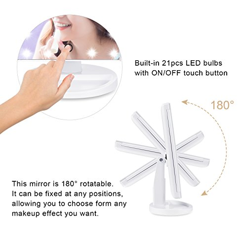 -[ [New Year Gifts] HAMSWAN Vanity Makeup Mirror Illuminated Trifold LED Mirror Foldable with Touch