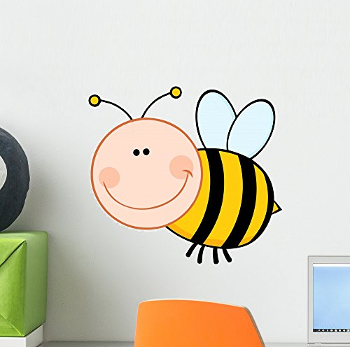 Wallmonkeys Smiling Bumble Bee Cartoon Wall Decal