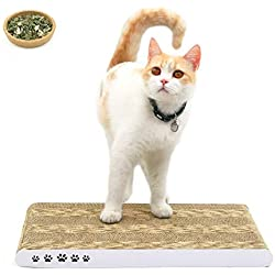 COCHING Cat Scratcher Cardboard Scratch Pad with Unique Two Different Scratch Textures Design Durable Scratching Pad Reversible with Organic Catnip