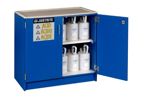 Justrite Manufacturing Company LLC 24140 - Acid & Corrosives Safety Cabinet, Blue, Under the Counter Style, 2, 1 Shelf, 35-3/4 x 36 x 22