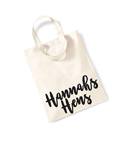 Personalised Name Hens - Small Canvas Fun Slogan Tote Bag Natural/Black