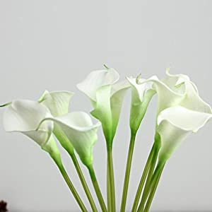 """Outtop 10 Heads 11.8"""" Calla Lily Artificial Flowers Bouquets Real Touch Fake Flower for Home and Wedding Decoration (White) 4"""