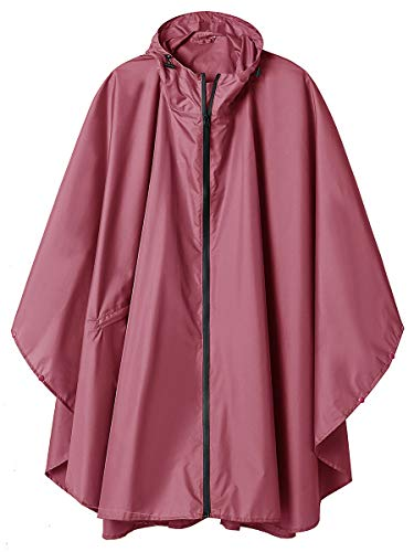 (Waterproof Rain Poncho Coat Jacket Hooded with Two Zippers for Outdoors Rose Red)