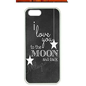 Case For Iphone 4/4S Cover ,fashion durable white side design phone case, pc material phone cover ,with art words I love you to the moon and back .